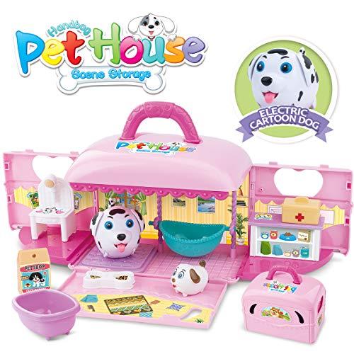REMOKING STEM Pretend Pet Toy Play Kit, Funny Portable Handbag Pet House Scene Storage with 2 Pretend Play Dogs…