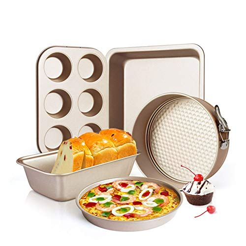 5-Piece Nonstick Bakeware Set Kitchen Baking Pans Non Stick Coating, Durable Carbon Steel Oven Crisper Pizza Tray Cake Pans Cookie Sheet Muffins Bread Loaf Pan