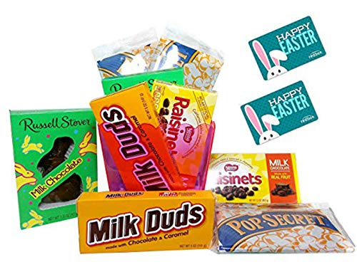 Happy Easter Movie Night Gift Basket ~ Includes a Milk Chocolate Bunny, Popcorn, Concession Stand Candy, and 2 Free Redbox Movie Rentals (redBox Codes CUSTOMIZE-IT)