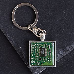 Men's keychain made of green circuit board