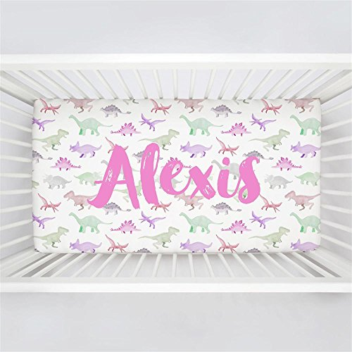 Carousel Designs Personalized Custom Pink Watercolor Dinosaurs Crib Sheet Alexis Idea - Organic 100% Cotton Fitted Crib Sheet - Made in the (Alexis Crib)