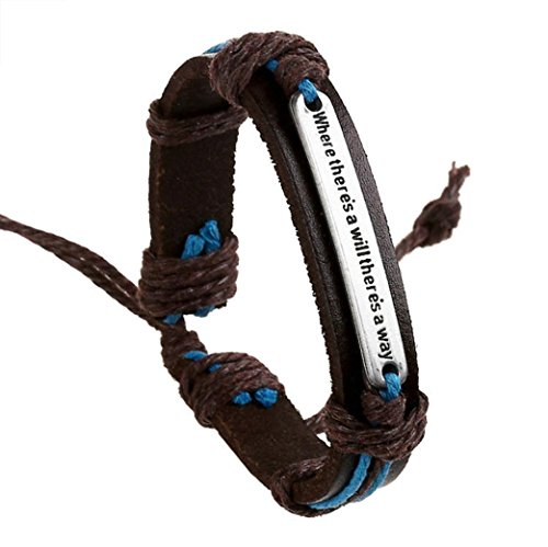 Price comparison product image HIRIRI Men Women English Punk Retro Fashion Bracelet Cowhide Alloy Hemp Rope Lucky Bracelet Bangle Wristband (Brown)