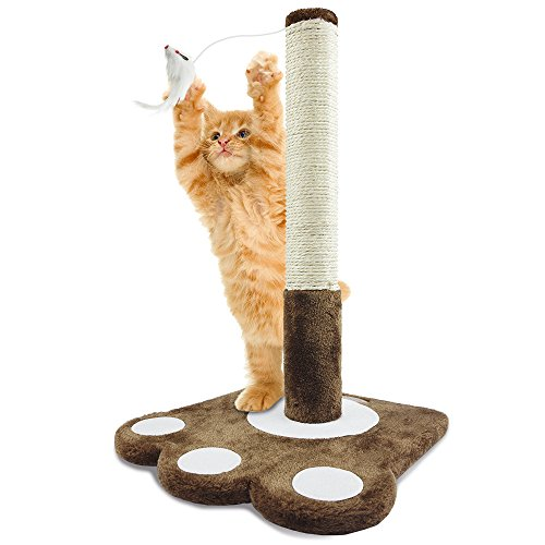PET Palace Cat Claw Scratching Sisal Post 19-inch Tall for Kittens and Cats with Toy Mouse, APL1345, Brown