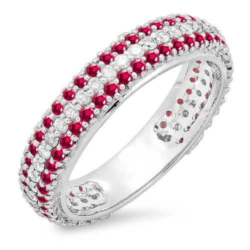 Dazzlingrock Collection 14K Round White Diamond & Ruby Ladies Anniversary Sizeable Eternity Band, White Gold, Size 8.5