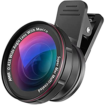 AMIR Phone Camera Lens, 0.45X Wide Angle Lens + 15X Macro Lens, 2 IN 1 Clip-On Professional HD Cell Phone Lens for iPhone 7 / 7 PLUS / 6, Samsung, Other Smartphones