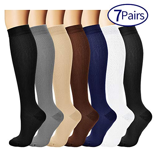 7 Pairs Compression Socks For Women and Men - Best Medical, Nursing, for Running, Athletic, Edema, Diabetic, Varicose Veins, Travel, Pregnancy & Maternity - 15-20mmHg, Large / X-Large,  Assorted 1