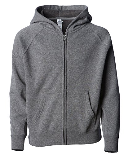 (Blank Lightweight Girls and Boys Zip Up Hoodie Fleece Light Gray Jacket Medium)