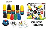 KRISMYA Quick Cups Games for Kids,Classic Speed Stacking Cup Game for Kids Flying Stack Cup Parent-Child Interactive Game with 24 Picture Cards, 30 Cups (6 Sets of 5 Colors Each), Bell &Instructions