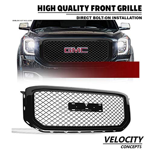 (Velocity Concepts Mesh Front Grill Hood Bumper Grille Glossy Black 2015-2018 for GMC Yukon/Xl/Denali)