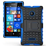 Microsoft Nokia Lumia 435 Case Cover Accessories - Tough Rugged Dual Layer Protective Case with Kickstand for Microsoft Nokia Lumia 435 - Blue