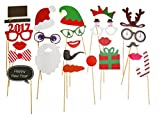 New 23pcs HAPPY NEW YEAR Photo Booth Props Christmas Party Decoration Accessories Glass Cap Moustache Lips Attached to the Sticks, Christmas Gifts, Photo Masks