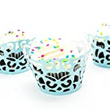 Linen and Bags 120 Piece Laser Cut Damask Decorative Cupcake Liners Party Cupcake Wrappers (Turquoise)