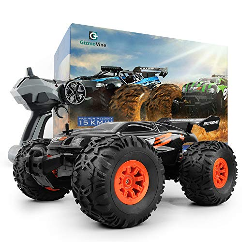 (Gizmovine RC Car Toys, Remote Control Monster Truck with 2.4GHz Radio Controlled Vehicle Off Road Remote Control Car for Kids and Adults 1/18 Scale (Orange))