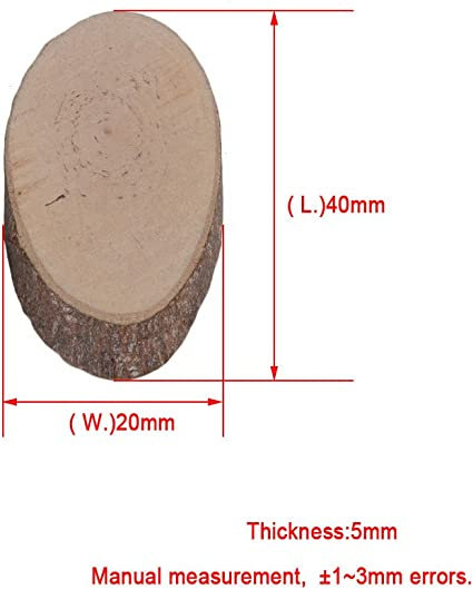 RDEXP 40x20x5mm Natural Pine Wood Unfinished Oval Shaped Discs Tree Bark Wooden Circles for DIY Crafts Set of 100