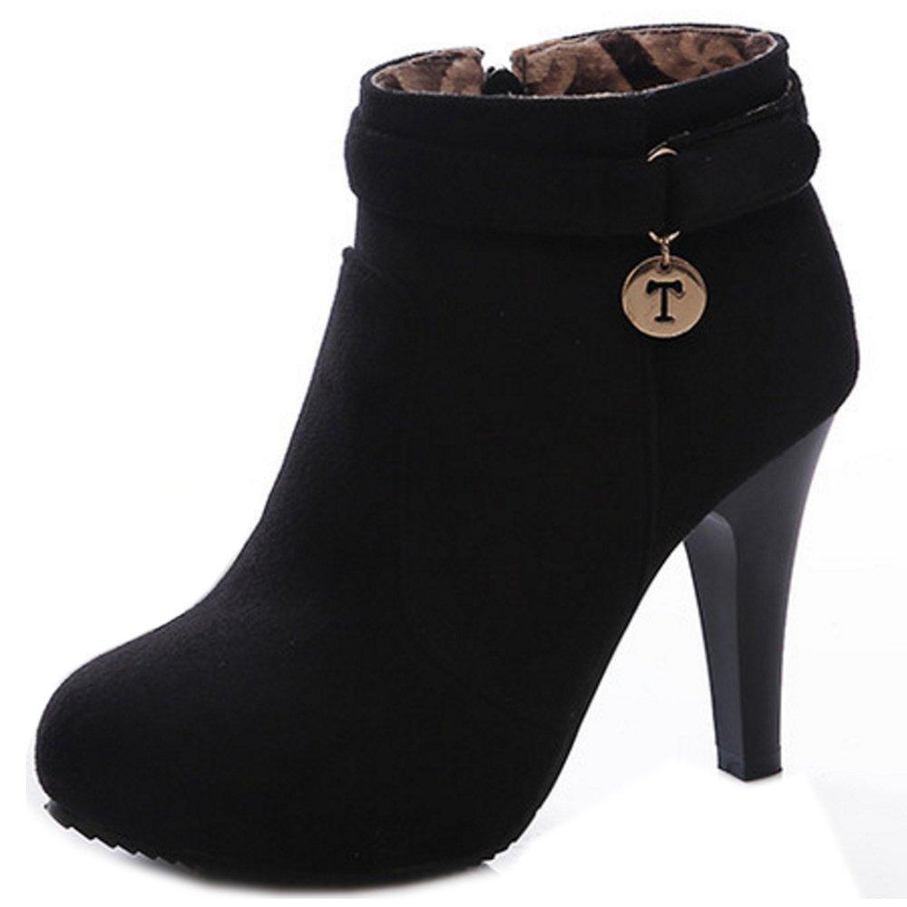 RAZAMAZA Damen Mode Reißverschluss High Heel Schuhe Kurzschaft Stiefel 1315 Black