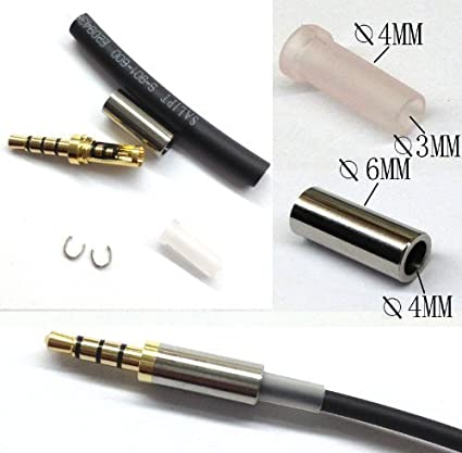 amazon com gold 4 pole 3 5mm male repair headphone jack plug metal rh amazon com