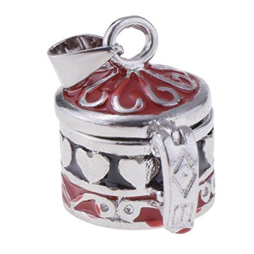 Homyl Enamel Cylinder Box Heart Flower Pattern Cremation Keepsake Urn Ash Holder Red/Purple Memorial Pendant - Purple