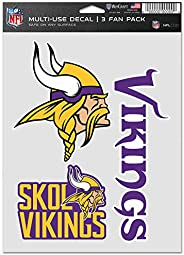 WinCraft NFL Minnesota Vikings Decal Multi Use Fan 3 Pack, Team Colors, One Size
