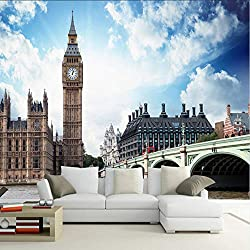 hwhz Modern Custom British Clock Tower Architectural Landscape Backdrop Wall Photo Wallpaper Living Room Home Decor 3D Stereo Murals-150X120Cm