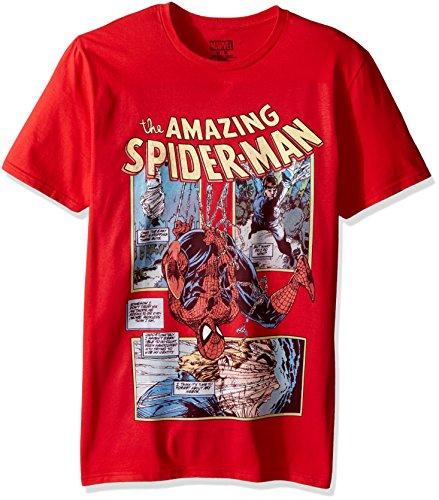 Marvel Men's Spider-Man Short Sleeve Graphic T-Shirt, Red Spiderman Short Sleeve, Large