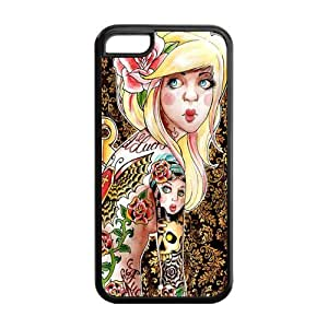 4s Phone Cases, Cute Tattoed Girl Hard TPU Rubber Cover Case for iphone 4s