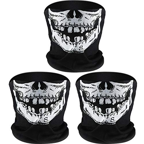 Tatuo 3 Pack Skull Face Mask Half Sun Dust Protection Tube Mask Durable Bandana Skeleton Face Shield Motorcycle Fishing Hunting Cycling Riding Festival Neck Gaiter -