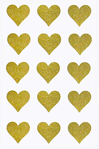 (Gold Heart Stickers Labels with Glitter Finish Perfect for Party Thank You Favor Bags and Gift Boxes 1.5