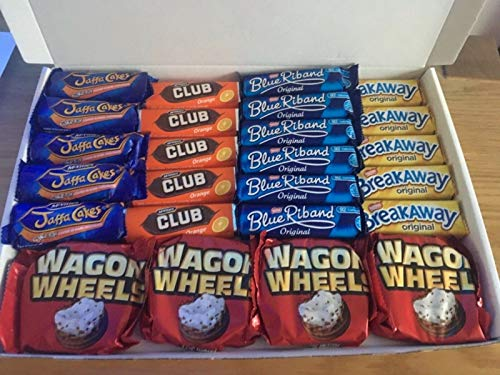 Great Big Chocolate Biscuit Bars Present Box. Includes Jaffa Cakes , Club Chocolate Orange , Blue Riband , Wagon Wheels , Breakaway Biscuits