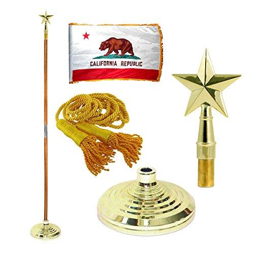 Fringed Texas Flag (California 3ft x 5ft Flag, Flagpole, Base, and Tassel (8 Ft Pole, Texas Star))