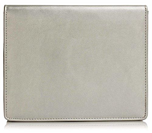 ANNA GRACE - Cartera de mano de piel sintética para mujer Design 1 - Silver
