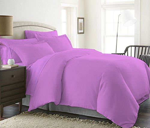 400 Thread Count Luxurious 100% Egyptian Cotton Duvet Cover (1 Duvet Cover with Zipper Closure 2 Pillowshams) by Bed Alter Solid (Lavender, (Dot Embroidered 400 Thread)