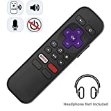Enhanced Voice remote with Headphone Jack for Private Listening and Voice Control COMPATIBLE with TCL Roku Smart TV (2016 Newer Model) [NO TV POWER BUTTON]