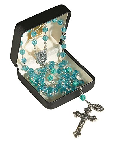 Elysian Gift Shop Our Laday of Guadalupe Aqua blue Silver Italian Rosary with 6mm Aurora Borealis Austrian Crystal beads combined with carved rose Our Father - Austrian Crystal Borealis Aurora