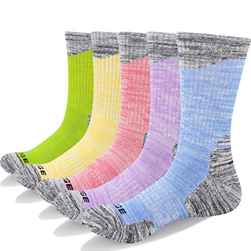 YUEDGE 5 Pairs Women's Cushion Crew Socks Outdoor Recreation Multi Performance Trekking Climbing Camping Walking Hiking Socks (L) - Outside Heel Welt