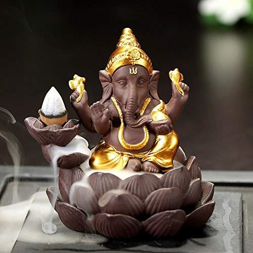 (Mangatal Thai Incense Holder, Incense Cones Burner Incense Stick Holder Ceramic Backflow Incense Burner with 10 Free Cones Home Decoration Gift Backflow Incense Holder Elephant Lotus (D 10x10.8x9CM))
