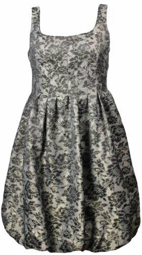 London Times Women's Floral Lace Metallic Dress Black/Gold (10) [Apparel]