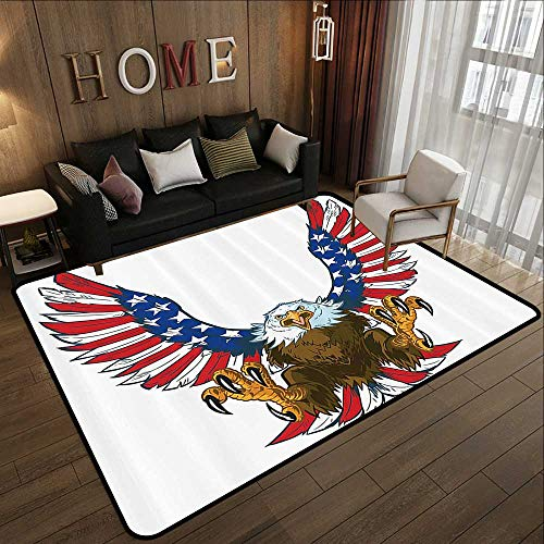 Kids Rugs for playroom,Americana Decor,Mean Screaming Bald Eagle Flying Toward American Flag as Spread and Talons Out Wings Design,Blue 78.7