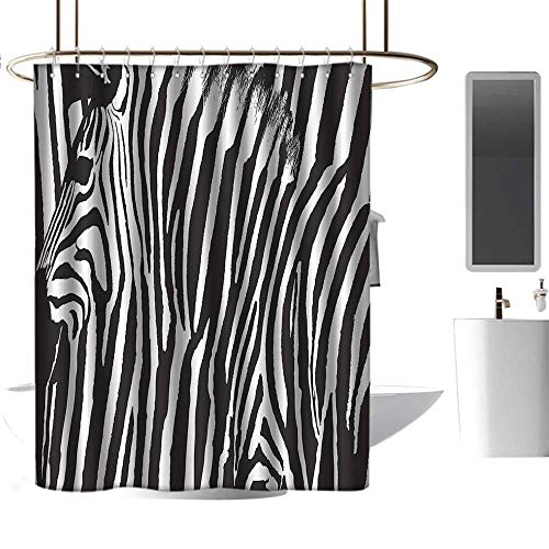 shower curtains with blue birds Zebra Print Decor Collection,Zebra Design with Animal Blended over Itself to Create an Abstract Pattern,Black White ,W72