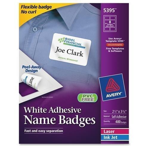 Avery 5395 Laser/Inkjet Name Badges,2-1/3-Inch x3-3/8-Inch,400/BX,Plain WE
