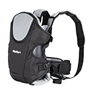 MixMart Soft Baby Carrier 3-in-1 Front and Back Ergonomic for Men Women with Clever Bib Airflow 3D Breathable Mesh Gift for Mom Newborn Baby (Black/Gray)