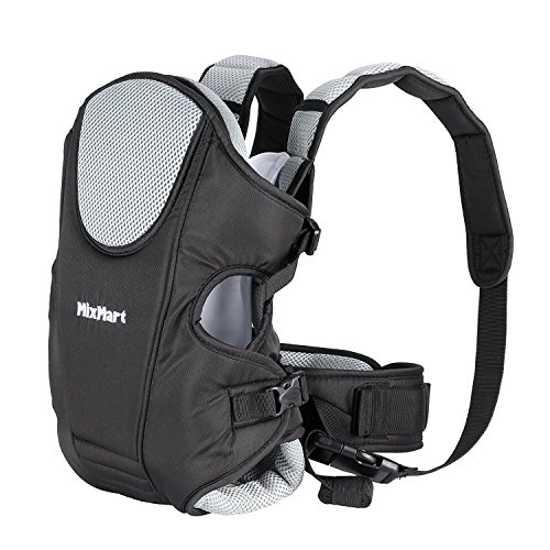 MixMart Soft Baby Carrier 3-in-1 Front and Back Ergonomic for Men Women with Clever Bib Airflow 3D Breathable Mesh Gift for Mom Newborn Baby (Black/Gray) by MixMart