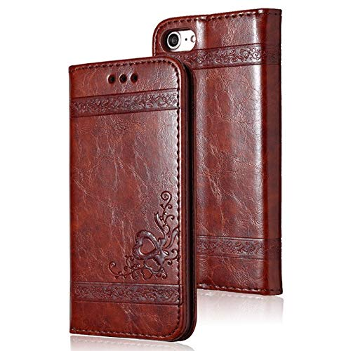 MIIA Wallet Cases - Leather Flip Phone Case for iPhone X 6 6s 7 8 Plus 5 5s for iPhone X Xr Xs Max Retro Card Slot Phone Case Full Cover - for iPhone 6 6s_Wine red - Clip Women Arm Blocking Dress