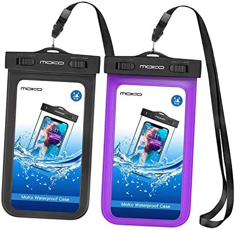MoKo Waterproof Phone Pouch [2 Pack], Underwater Waterproof Cellphone Case Dry Bag with Lanyard Armband Compatible with iPhone 11/11 Pro/11 Pro Max/X/Xs/Xr/Xs Max, 8/7, Galaxy 20/S10/S9/S8 Plus, S10 e