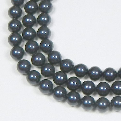 100 Swarovski Crystal Pearls 6mm Round Beads (5810). 24 Inch Loose Strand (Night Blue)