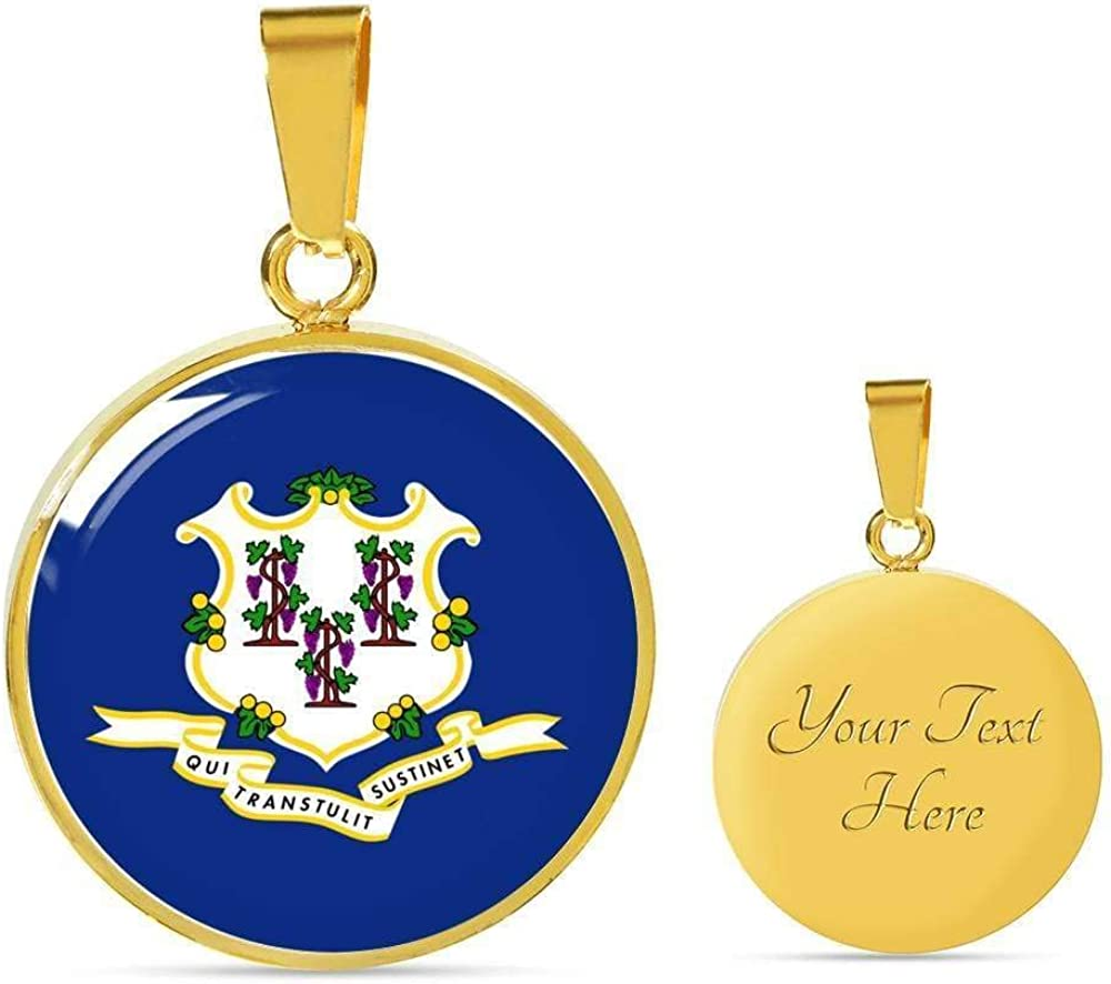 Express Your Love Gifts Connecticut State Flag Necklace Engraved Stainless Steel Circle Pendant 18-22