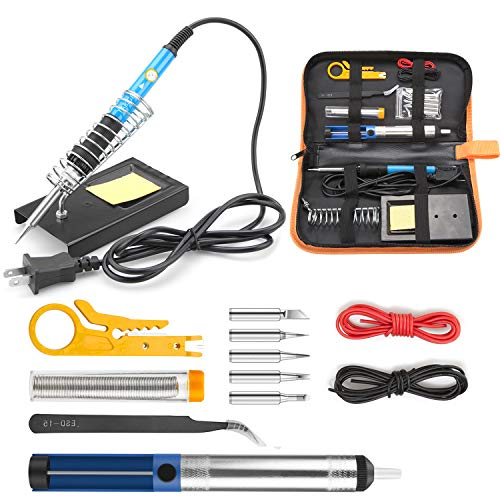 (Tabiger Soldering Iron Kit 15-in-1, 60W Soldering Iron with Adjustable Temperature, Soldering Gun, 5pcs Soldering Iron Tips, Solder Wire, Desoldering Pump, Tweezer, Soldering Stand, Tool)