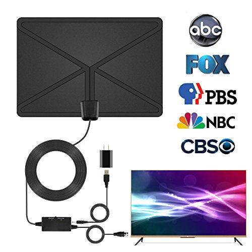 Digital HDTV Antenna With Amplifier Signal Booster Indoor TV Antenna-Upgraded Version USB Powered Amplified Antenna and 16.5 Feet High Performance Coaxial Cable (Black)