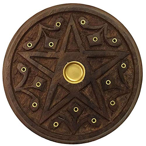 (Wooden Pentacle Altar Tile or Incense Burner 5