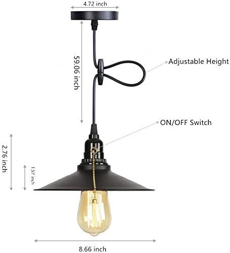 1-Light Black Pull Chain Switch Metal Shade Industrial Rustic Pendant Light,Max 59.06 Inch Adjustable Hanging Cord Length Ceiling Light Fixture