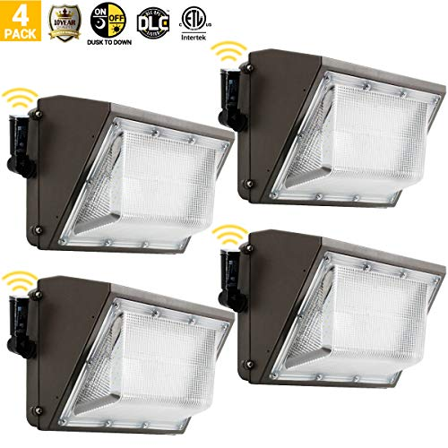 4PK 100W Led Wall Pack Light, Dusk to Dawn for 120-277V, 5000K, 11000Lumen, Ip65 Waterproof Security Area Lighting, Outdoor Rated